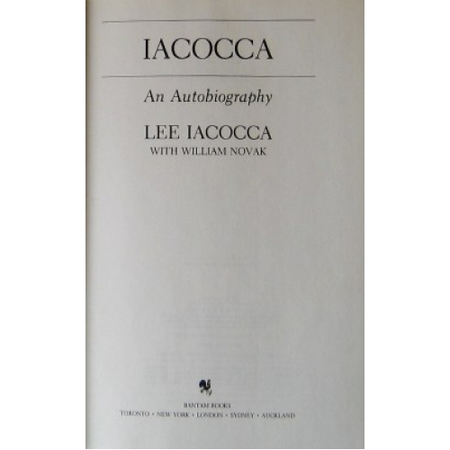 a description of the book iacocca as an autobiography by lee iacocca Lee iacocca with the 45th-anniversary edition of the ford mustang courtesy of the iacocca foundation later that year iacocca was hired as president by the chrysler corporation , which, having accumulated a huge inventory of low-mileage cars at a time of rising fuel prices, faced bankruptcy he became chairman in 1979.